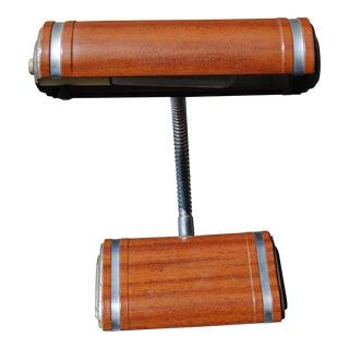 Vintage Industrial Metal Wood Grain Goose Neck Table Lamp For Sale