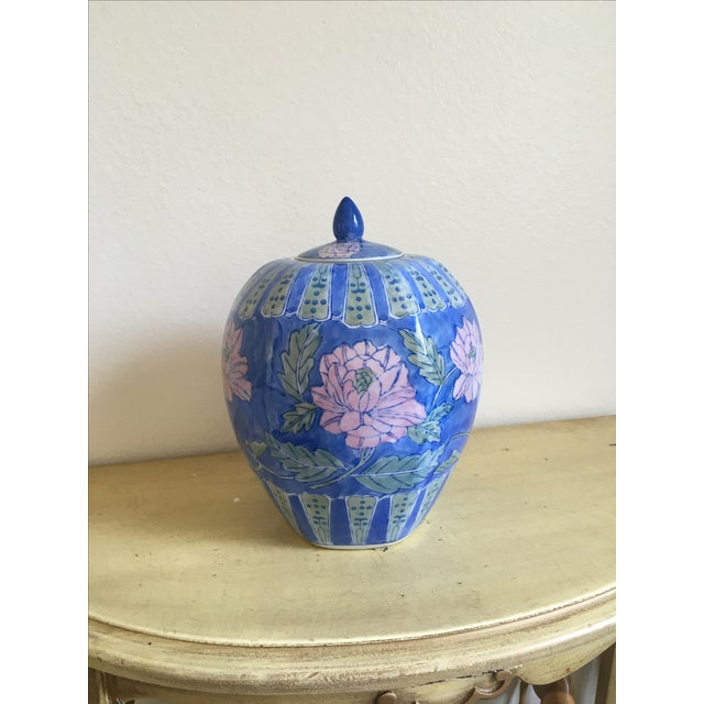 Vintage Large Chinoiserie Blue Ginger Jar & Lid - Image 3 of 10