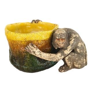 English Victorian 'Majolica' Porcelain Basket Form Jardinière For Sale