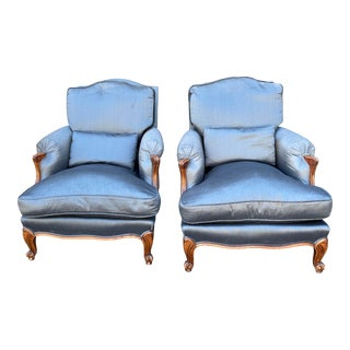 Antique Louis XV Style Slate Blue Silk Down Filled Berger Arm Chairs - a Pair For Sale