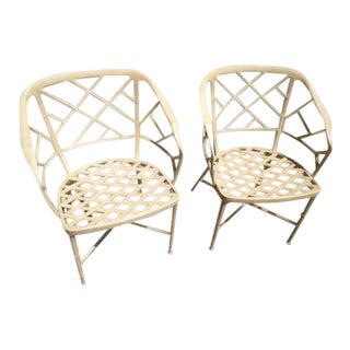 1970s Chippendale Brown Jordan Calcutta Captain's Chairs - a Pair For Sale