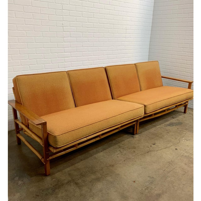 Ficks Reed Vintage Ficks Reed Walnut With Rattan Sectional Sofas - A Pair For Sale - Image 4 of 12