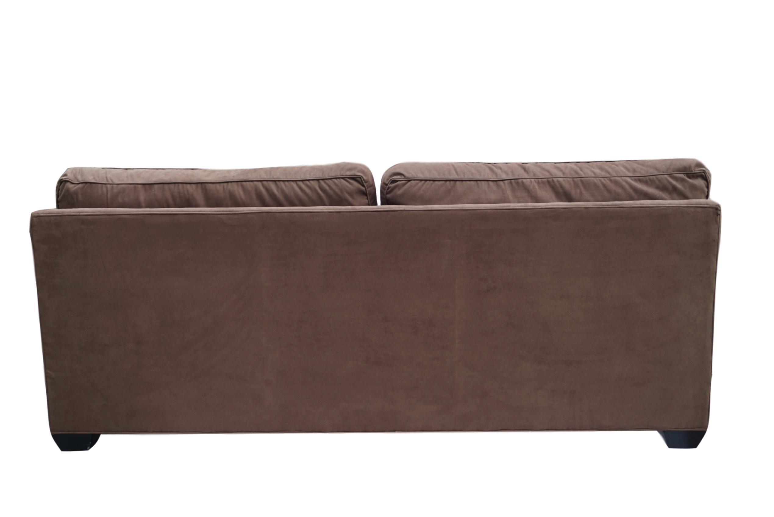 barclay butera brown microsuede sofa chairish rh chairish com Grey Microsuede Sofa Ashley Microsuede Sofa