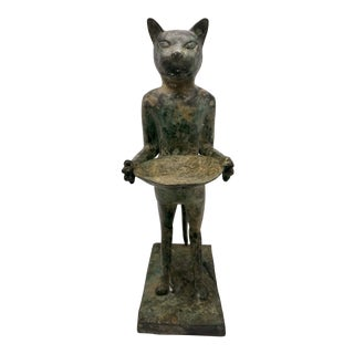 Art Deco Egyptian Revival Standing Cat or Bast With Bowl Guarding the Underworld Brass With Patina