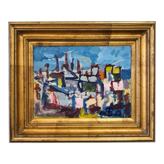 Preben Jorgensen Oil on Canvas Abstract Cityscape in Gilt Frame For Sale