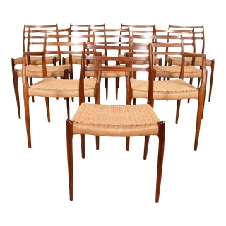 Niels Møller Set of 10 Danish Rosewood Dining Chairs For Sale