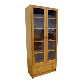 Mid-Century Danish Modern Domino Glass Door Teak Bookcase Cabinet For Sale