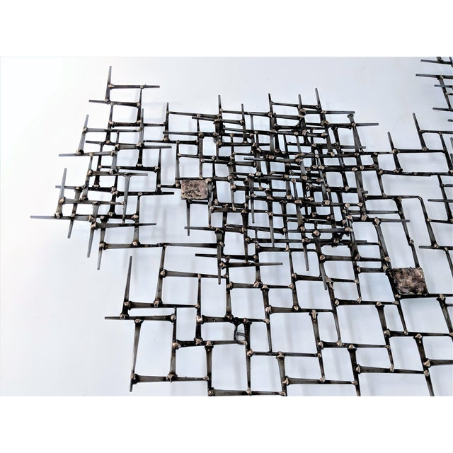 Curtis Jere Abstract Nail & Bronze Wall Jere Style Sculpture For Sale - Image 4 of 12