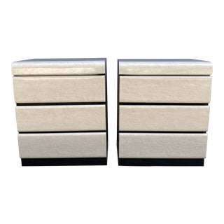 Postmodern Laminated 3 Drawer Nightstands - a Pair For Sale