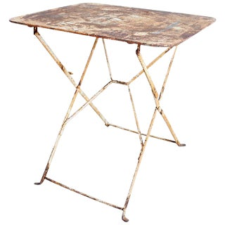 French Industrial Iron Folding Bistro Garden Table For Sale