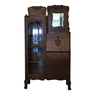 Antique Traditional Side Hutch With Secretary For Sale