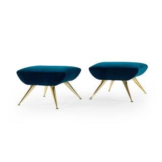 1950s Sputnik Footstools in Aqua Velvet - a Pair Preview