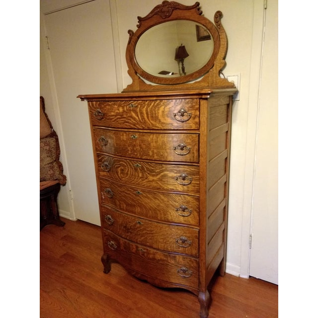 20th Century Traditional Restored Tiger Oak Highboy For Sale - Image 9 of 9