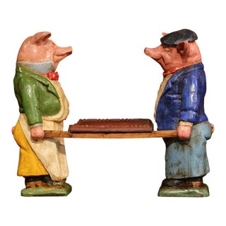 Pair of Early 20th Century French Hand Painted Ceramic Pig Sculptures With Tray For Sale