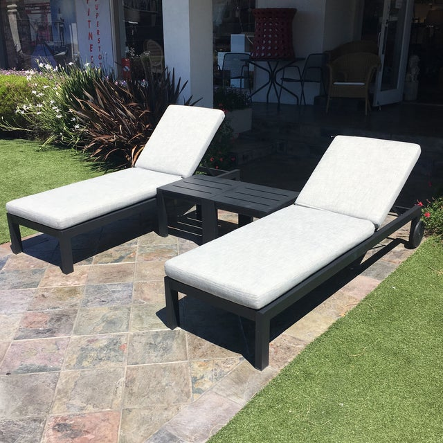 Restoration Hardware Aegean Chaises Lounge & Tables Set - Image 2 of 11