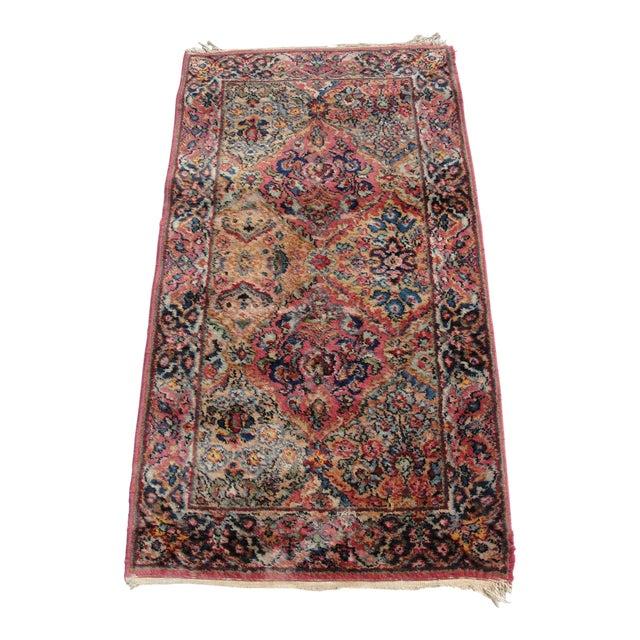 Vintage Mid-Century Karastan Kirman Wool Area Rug - 2′2″ × 4′ For Sale