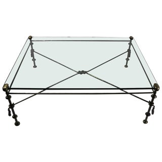 Glass Top Coffee Table After Giacometti For Sale