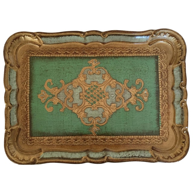 Green & Gold Italian Florentine Tray - Image 1 of 6