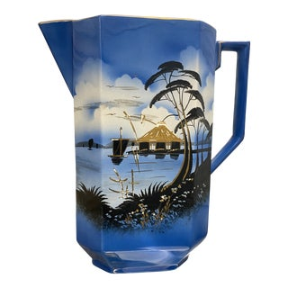 Large Mid-Century Modern Asian Scene Hand Painted Pitcher For Sale