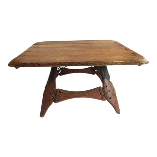 Pacific Green Exotic Palmwood Table With Leather Accents For Sale