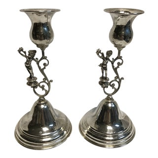 1900s Sterling 925 Cherub Art Nouveau Candlesticks - a Pair For Sale
