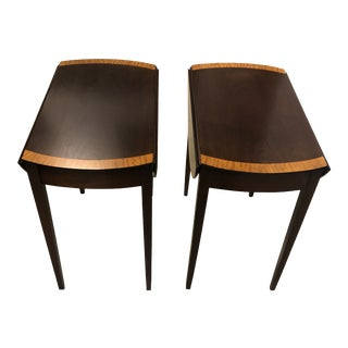 Vintage Round Drop Leaf Side Tables With Inlay - a Pair For Sale