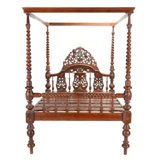 Ornate Anglo Indian Carved Canopy Bed For Sale