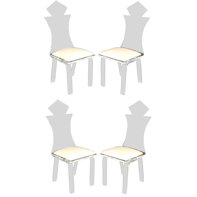 Carved Bent Lucite Dining Chairs - Set of 4 For Sale