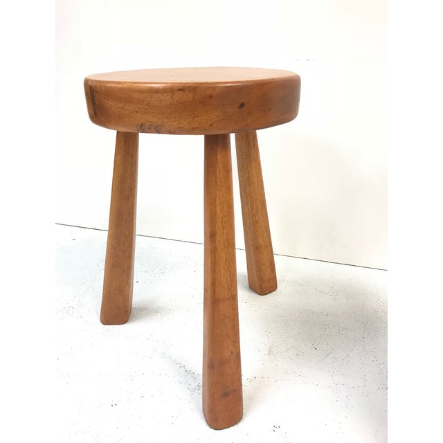 Pair of modernist wooden stool. Charlotte Perriand Stools for Les Arcs.