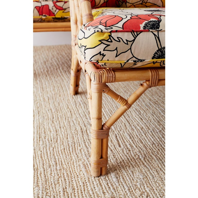 Brown Jordan Chinese Chippendale Rattan Bamboo Lounge Chairs For Sale - Image 9 of 13