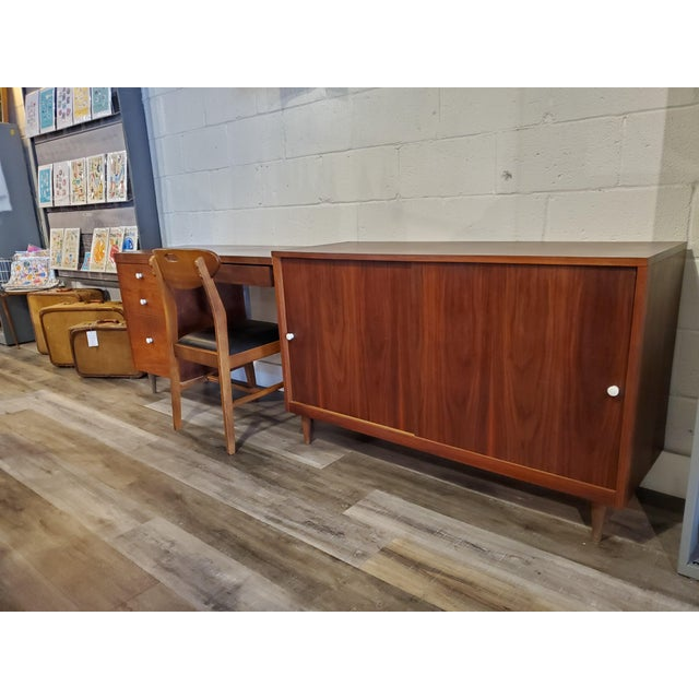 Wood Mid-Century Modern Desk & Credenza - A Pair For Sale - Image 7 of 13