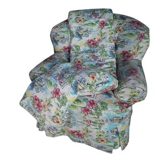 Vintage Overstuffed Coastal Key West/ Tropical Beach Club Chair Matching Custom Large Throw Blanket For Sale