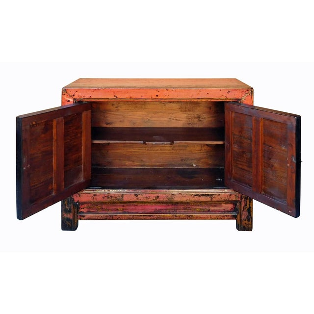 Distressed Chinese Pink Floral Console Cabinet - Image 7 of 8
