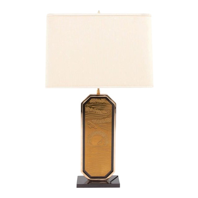 Gold-Plated Brass Etched Table Lamp For Sale