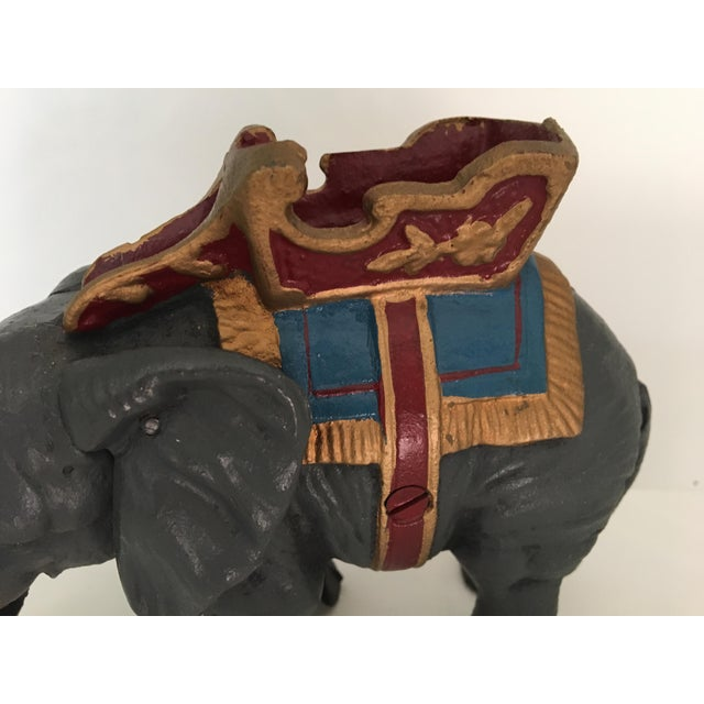 Late 20th Century 20th Century Americana Cast Iron Circus Elephant Bank For Sale - Image 5 of 13
