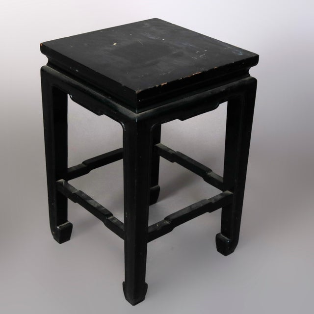 Black Vintage Black Lacquered Chinese Side Stands, 20th Century - Set of 4 For Sale - Image 8 of 13