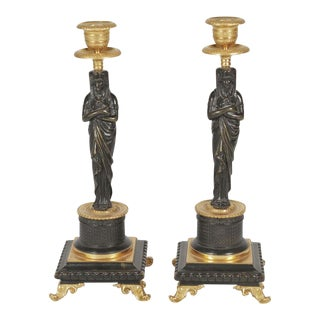 19th Century Egyptian Revival Motif Bronze Candlesticks - a Pair For Sale