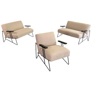 Vintage Mid Century Dan Johnson for Pacific Iron Settees and Lounge Chair Set- 3 Pieces For Sale