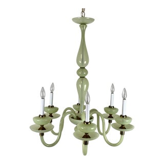 1960s 6 Arm Pale Moss Green Murano Chandelier For Sale