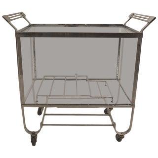 Treitel Gratz Nickeled Bar Serving Cart For Sale