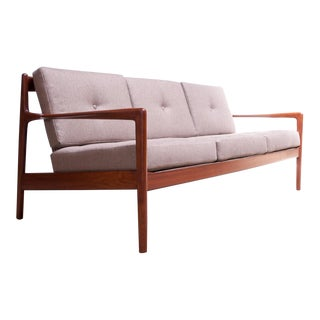 Danish Modern Teak Slat-Back Sofa Attributed to Ib Kofod Larsen For Sale
