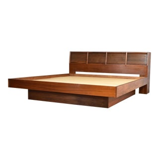 Walnut Scandinavian Modern Style King Bookcase Platform Bed W Tambour Doors by Barzilay For Sale