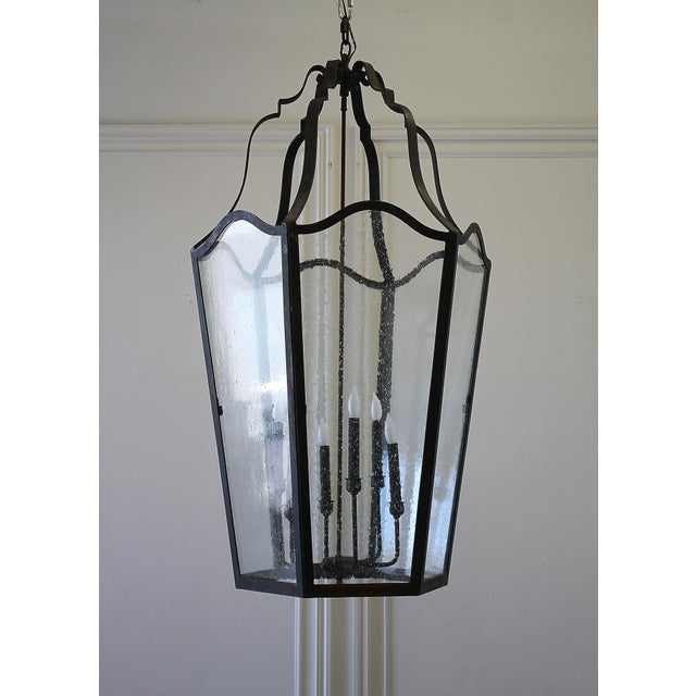 Custom Made Iron Lantern Chandelier For Sale - Image 12 of 12