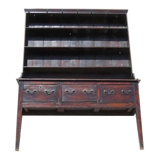 Welsh Diminutive Narrow Dresser and Rack Sideboard Hutch Beautiful Patina For Sale