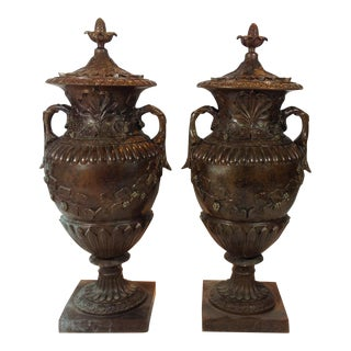 Cast Bronze Urns With Grape Motif For Sale