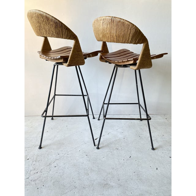 Wicker Vintage Arthur Umanoff Iron Wicker Back Counter Height Barstools- A Pair For Sale - Image 7 of 11