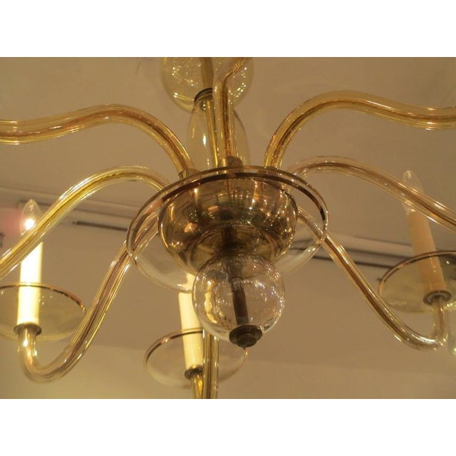 Mid 20th Century Eight Arms Amber-Colored Murano Glass Chandelier For Sale - Image 5 of 7