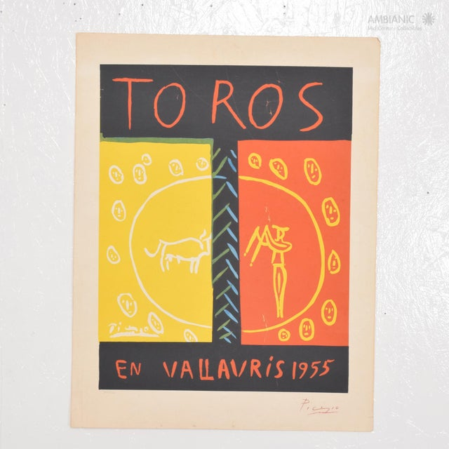 Orange Picasso Linocut Toros Vallauris 1955 36/100 Signed Picasso Arnera For Sale - Image 8 of 8