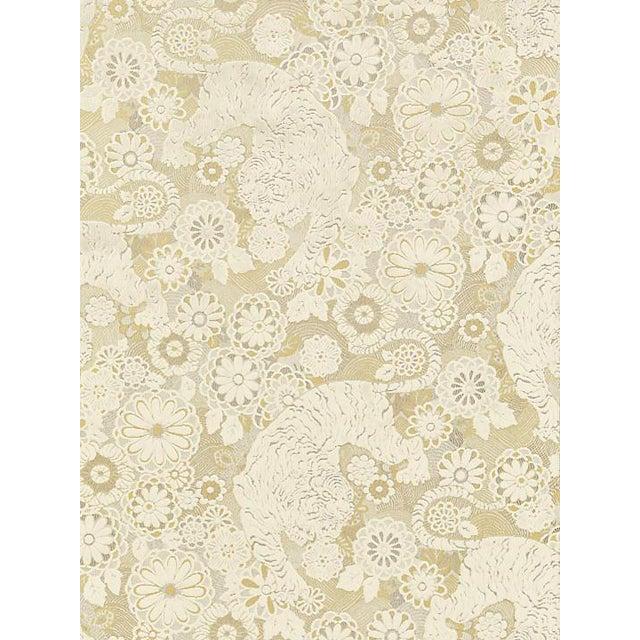 Sample, Scalamandre Siberian Tiger, White Tawny Fabric For Sale