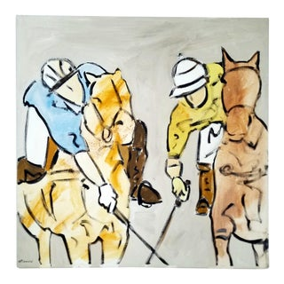 """""""Polo Players"""" Acrylic Painting on Canvas For Sale"""